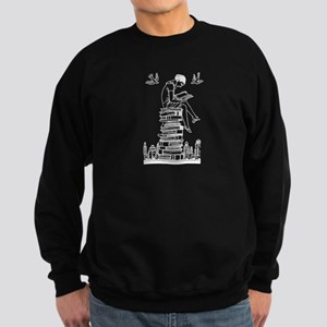 Reading Girl atop books Sweatshirt (dark)